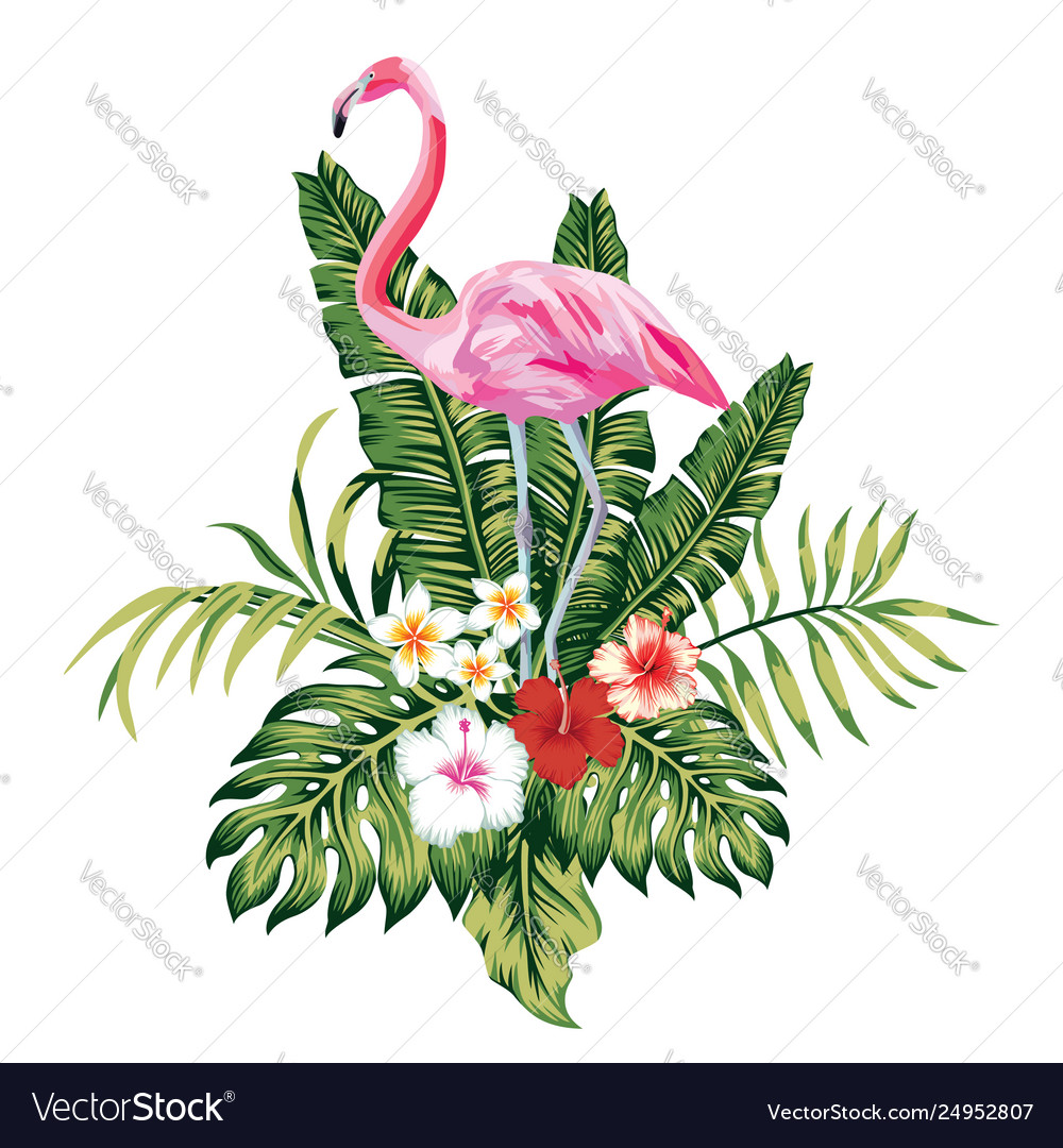 Composition pink flamingo tropical leaves and