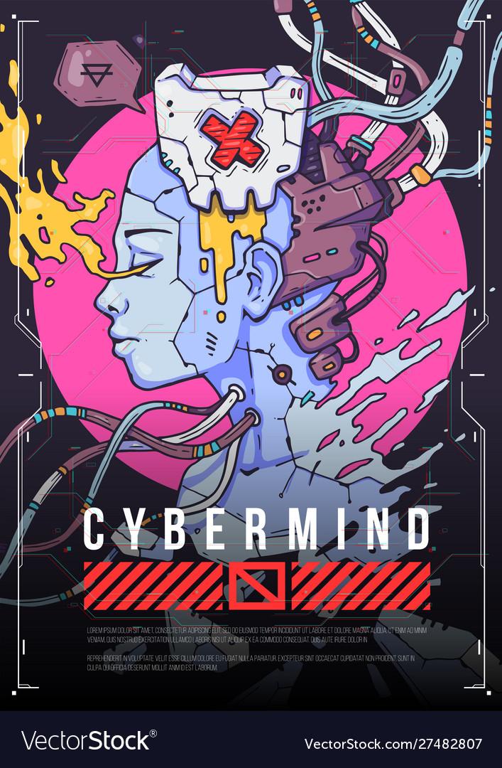 Cyber girl face concept futuristic