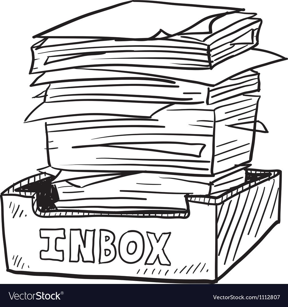 Doodle paper stack inbox