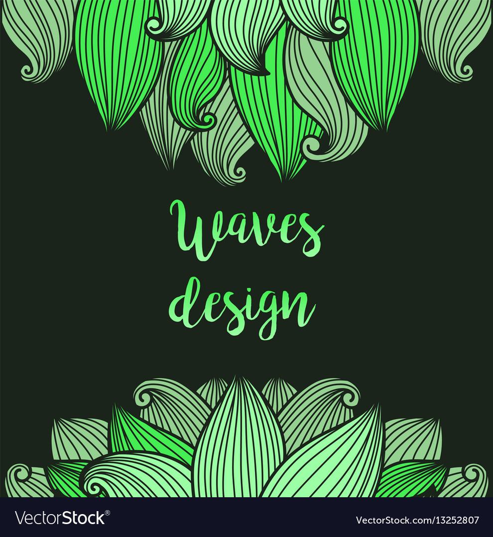 Green waves on dark background card
