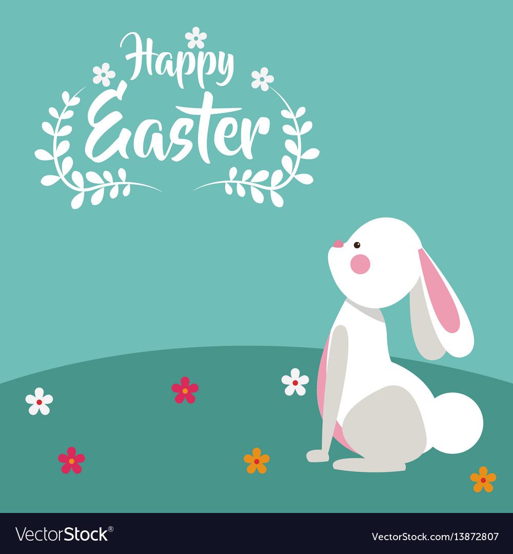 Happy easter bunny floral design