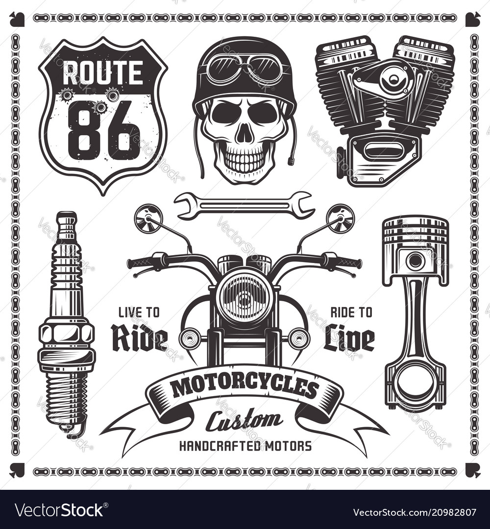 Motorcycles and bikers black elements