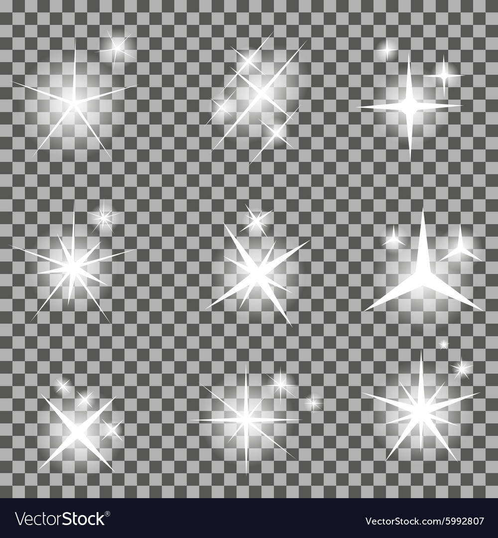 Set of Glowing Light Stars with Sparkles