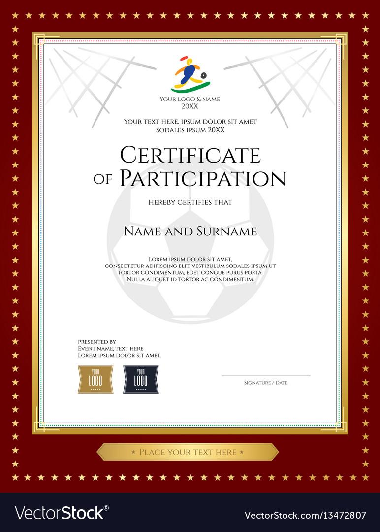 participation certificate template vector theme sport vectorstock