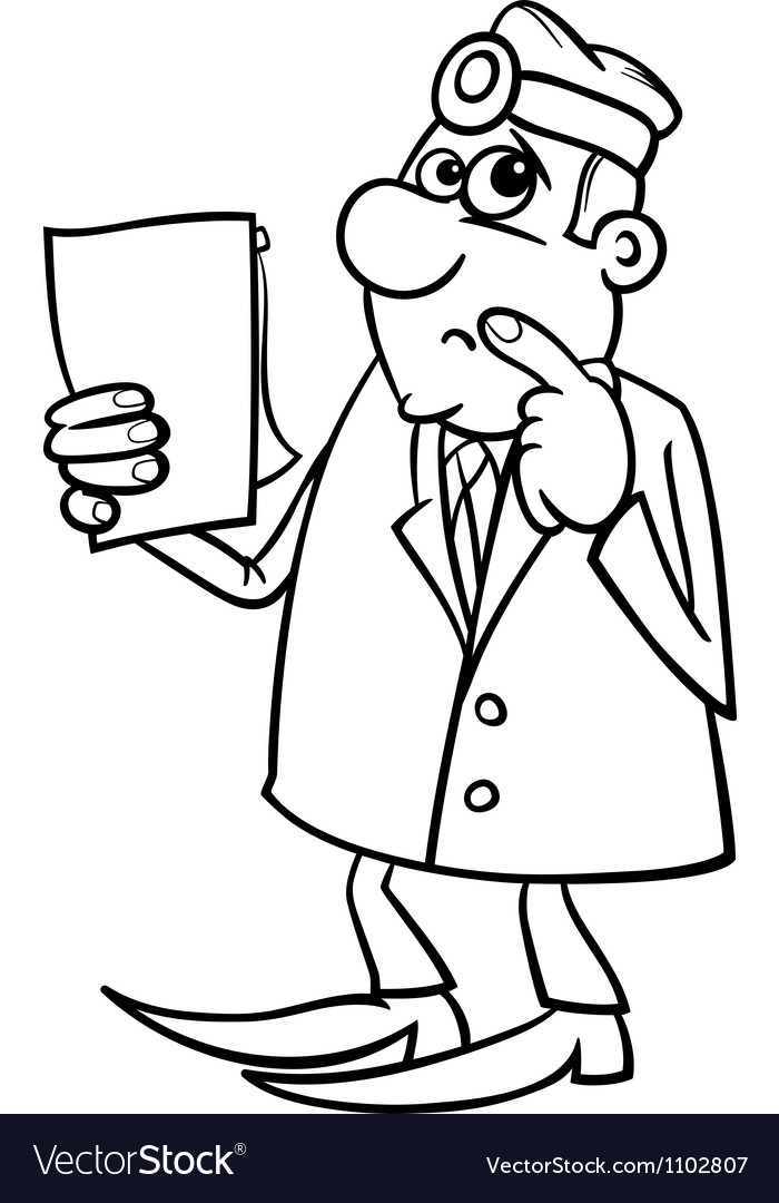 Thinking doctor black and white cartoon