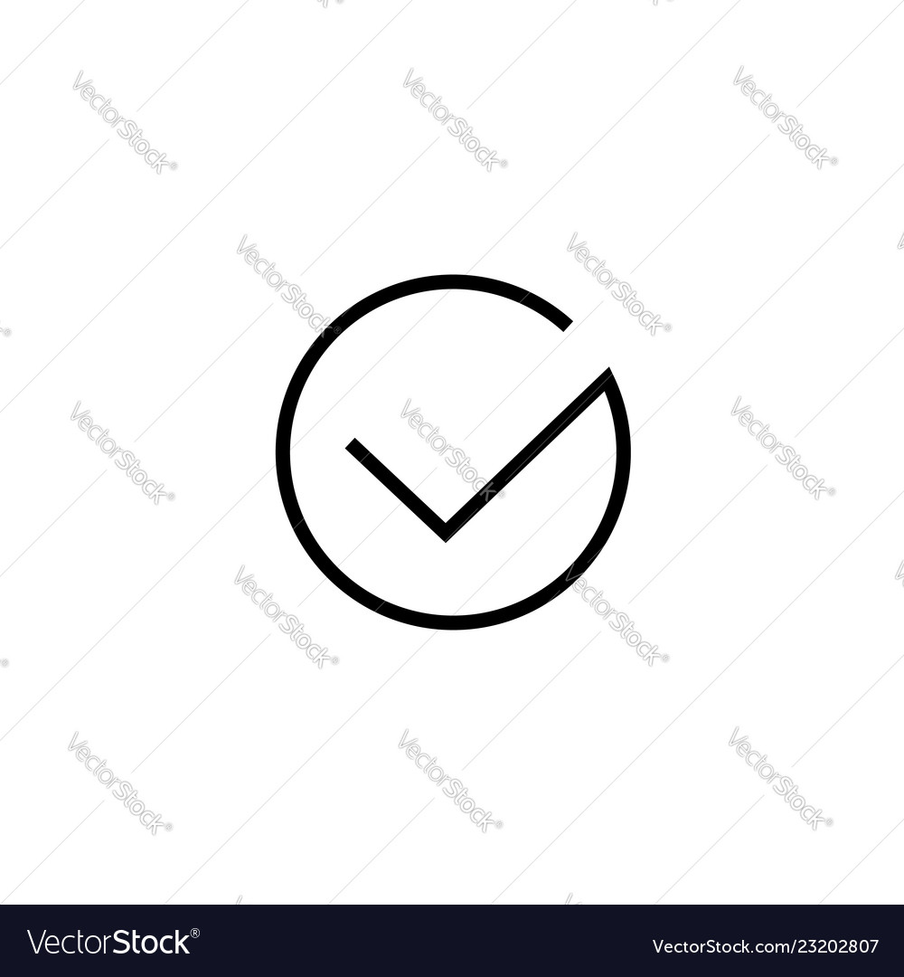 Tick icon symbol isolated thin line art