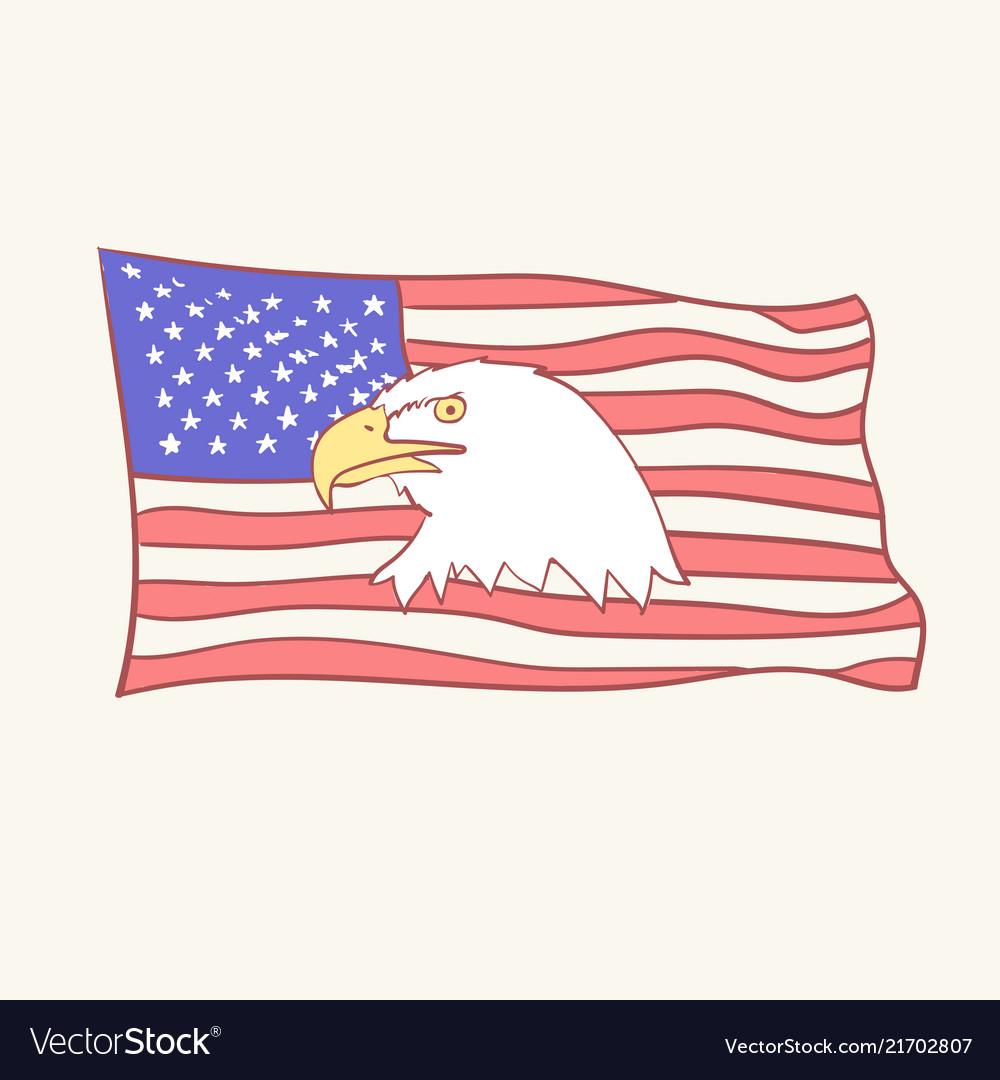Usa flag bald american eagle mascot icon