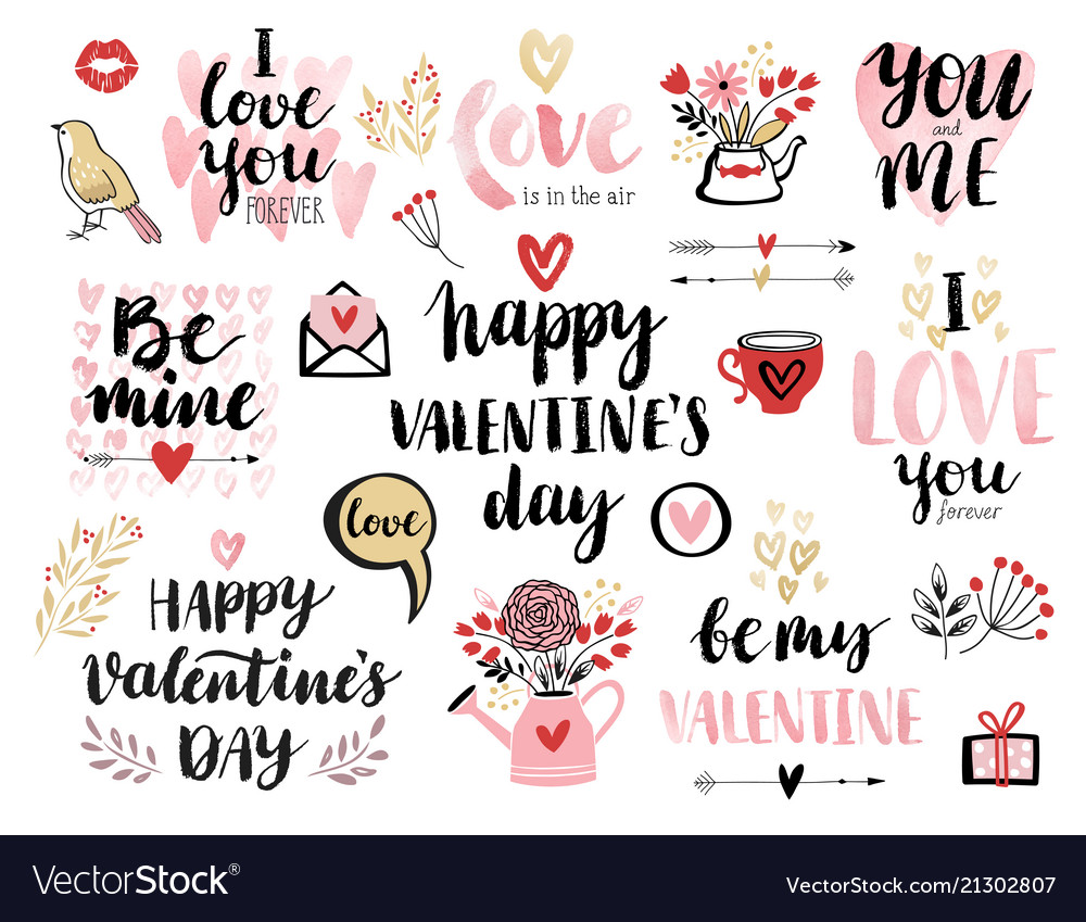 Valentinesday calligraphic set