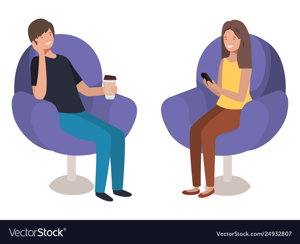Young couple using smartphone in sofa