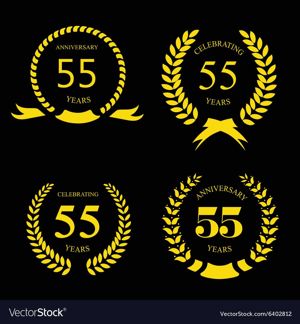 55 years Anniversary golden label vector image