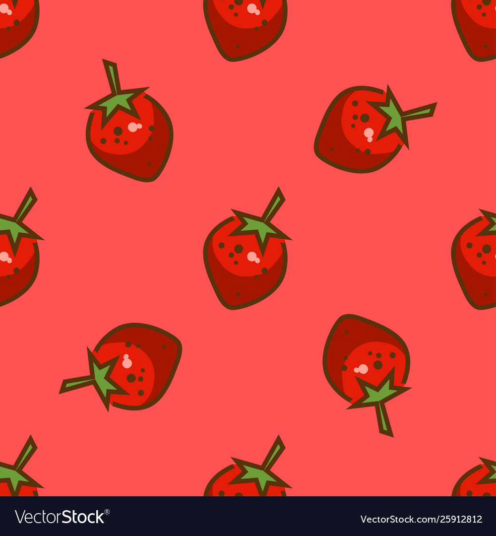 Bright strawberry seamless pattern vector