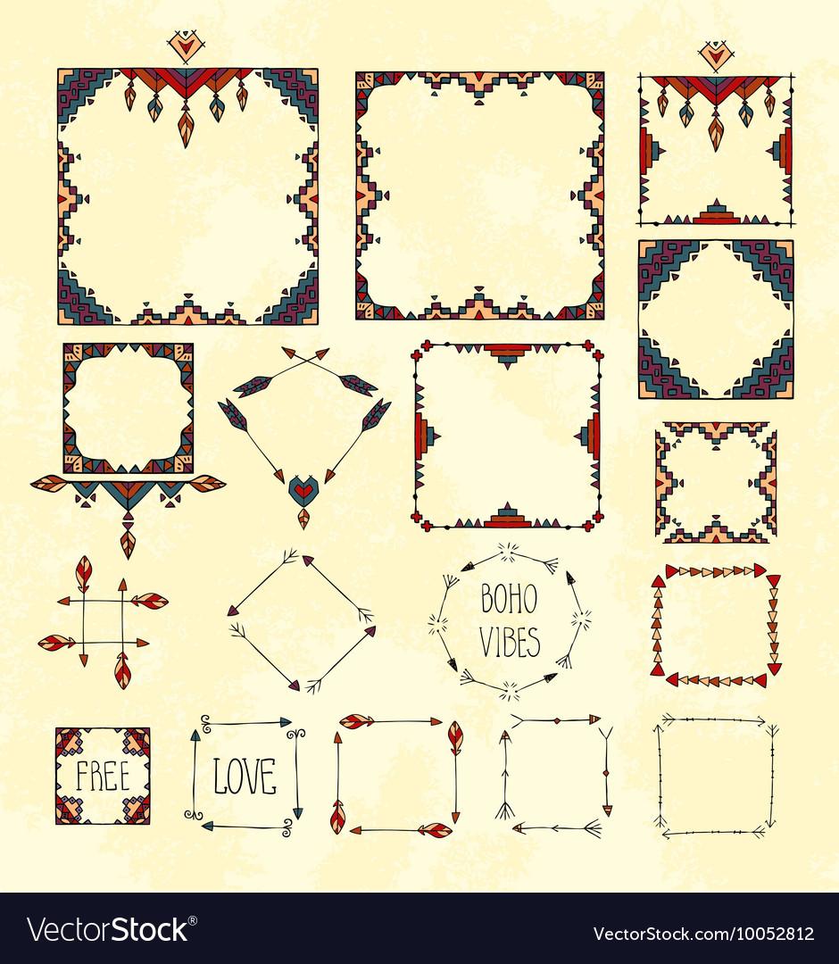 Colorful boho tribal set of frames on gruge