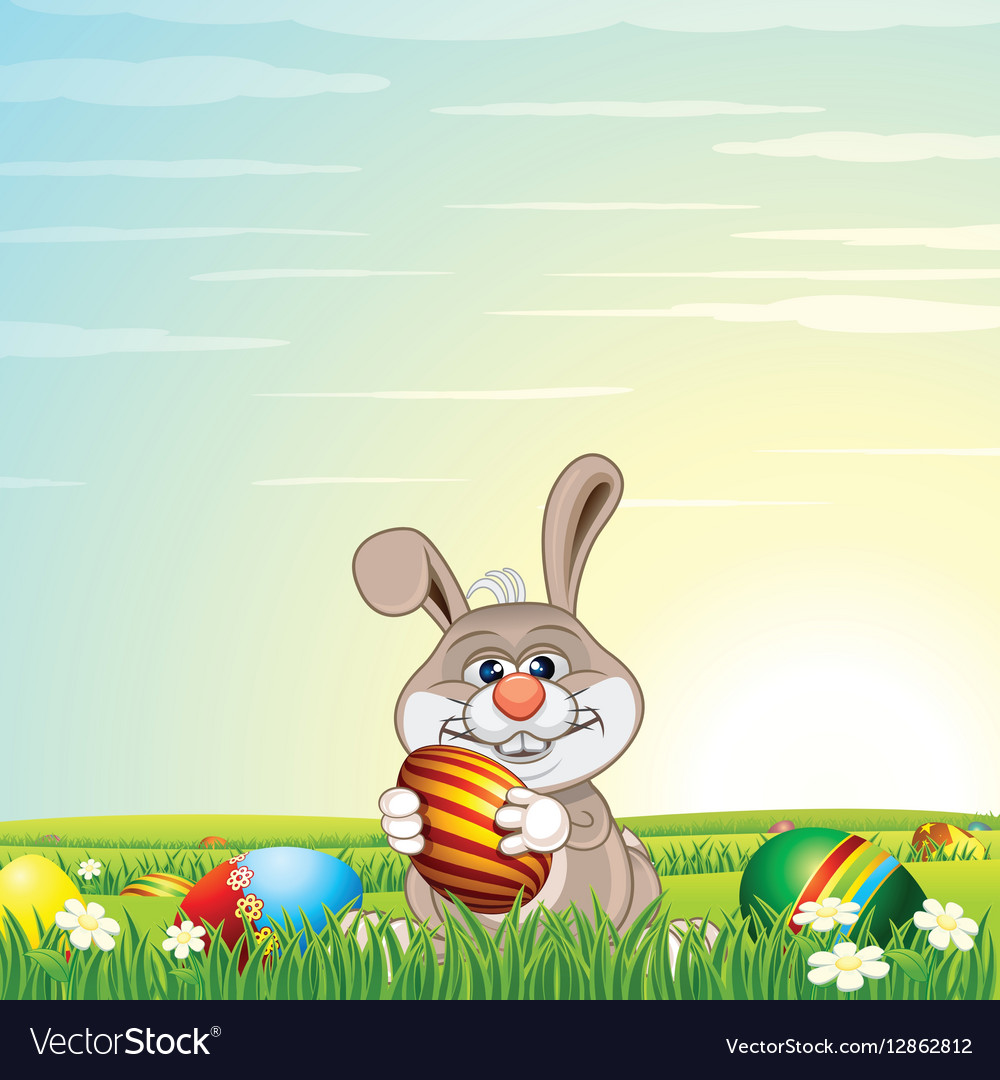 Easter Bunny Egg Hunt on Green Meadow vector image