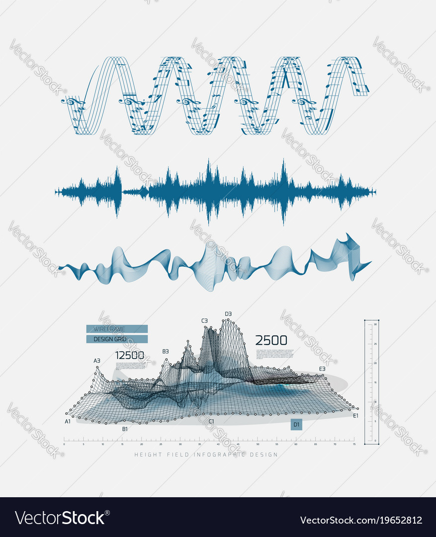 Graphic musical equalizer sound waves on a light