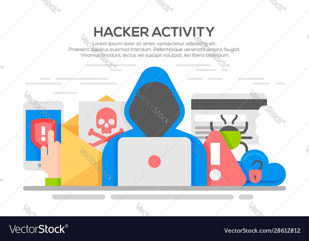 Hacker internet computer security flat concept