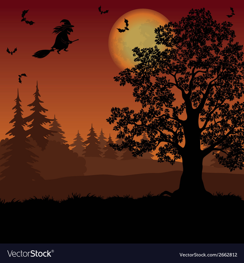 Halloween landscape with witch and trees