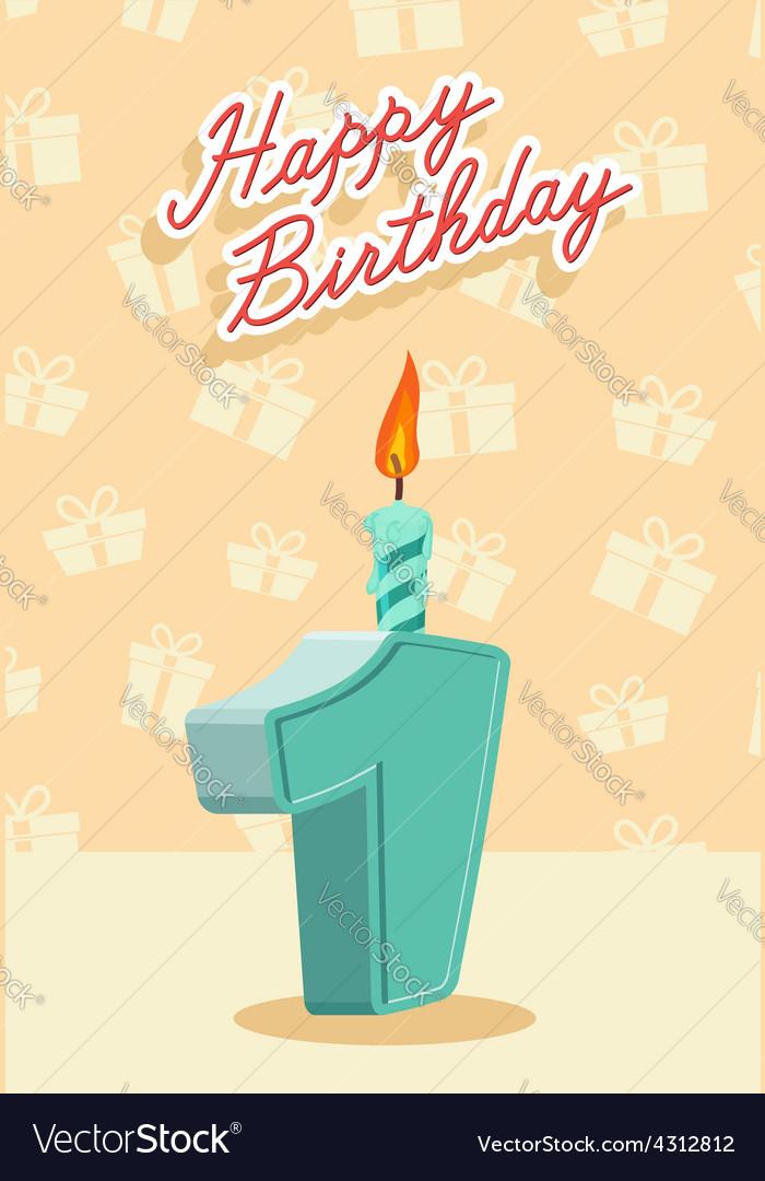 Happy Birthday Card With 1th Birthday Royalty Free Vector