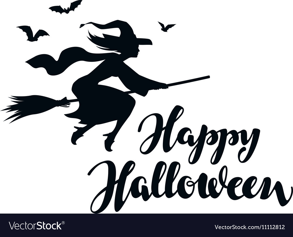 Happy Halloween Silhouette young witch flying on