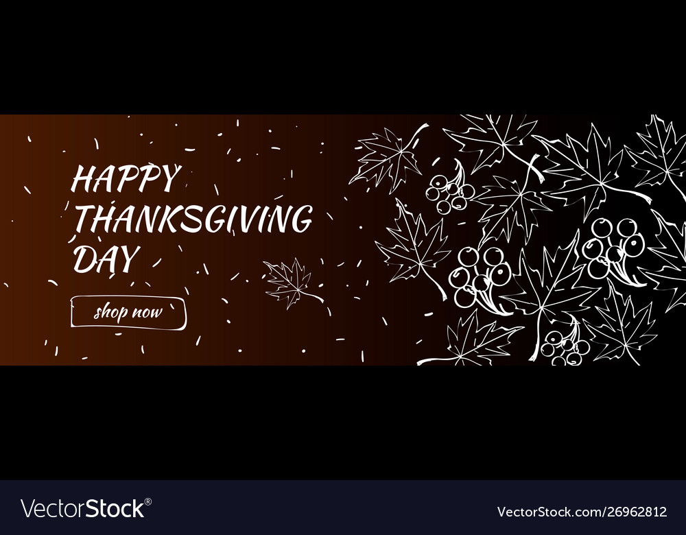 Happy thanksgiving day sale banner with doodle