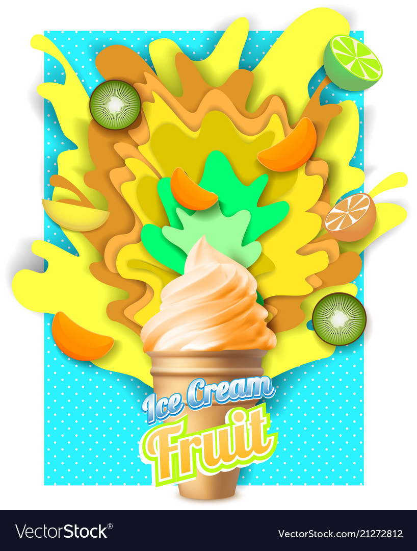 Paper Cut Tropical Fruit Ice Cream Poster Vector Image