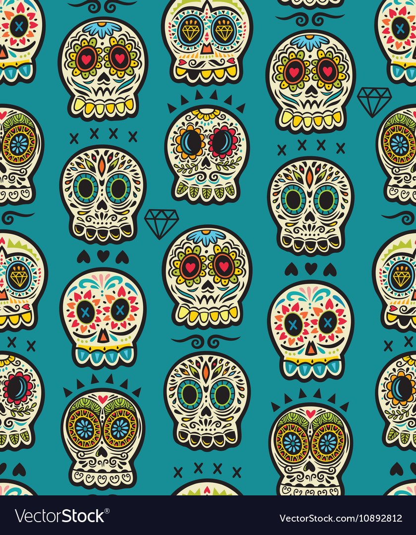 Seamless pattern with sugar skulls Mexican Day of
