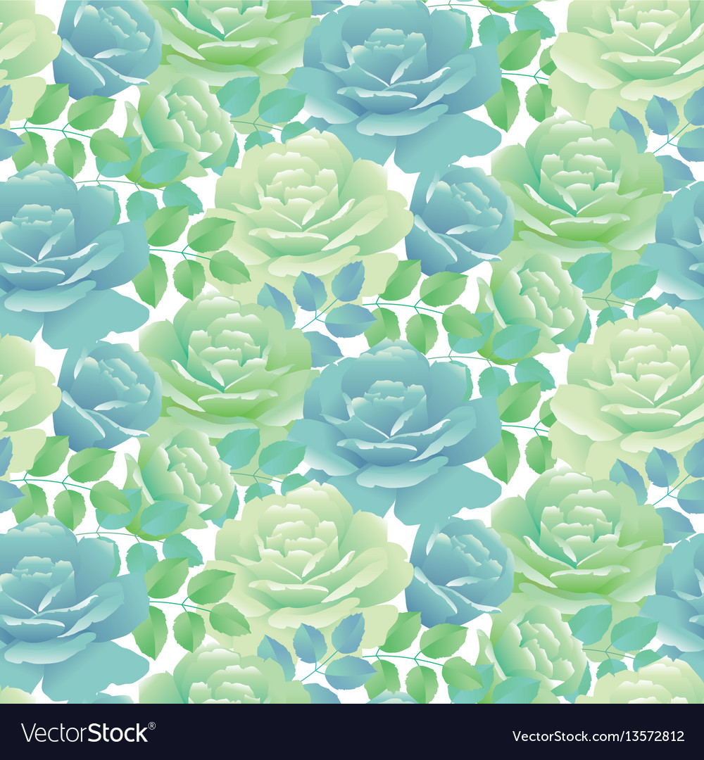 Tender spring roses abstract pale blue and green
