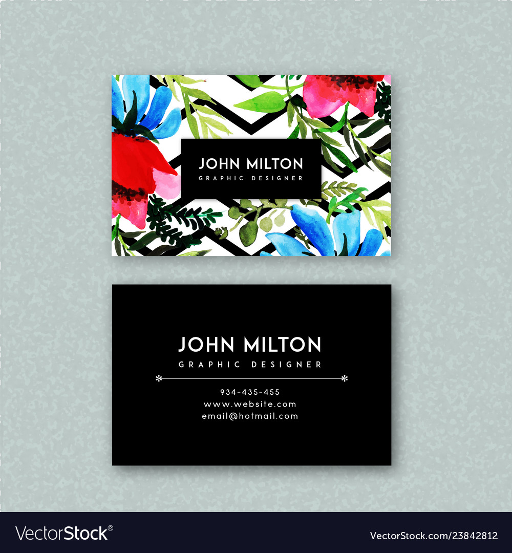 Watercolor floral visiting card template