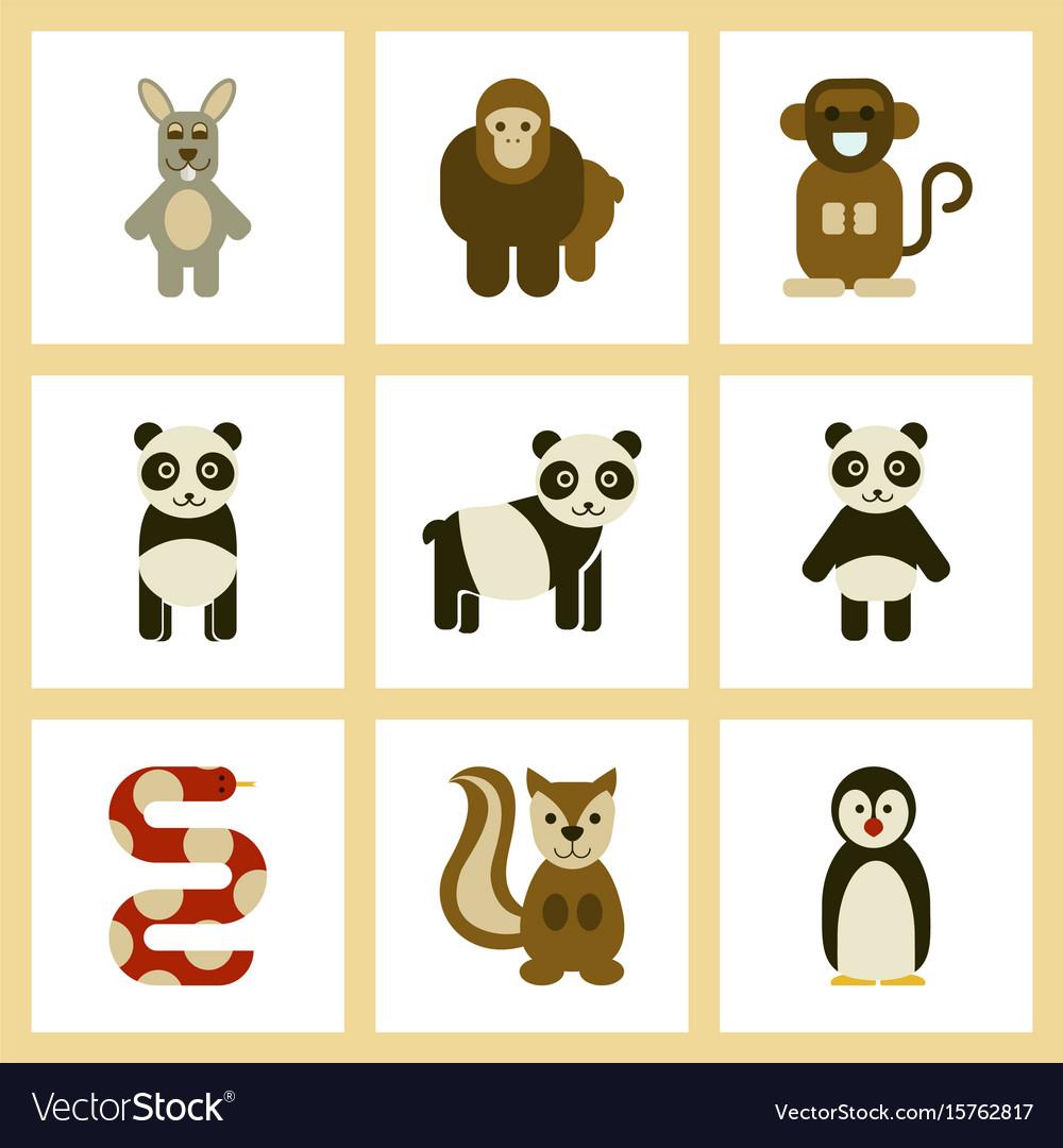 Assembly flat icons nature panda monkey rabbit