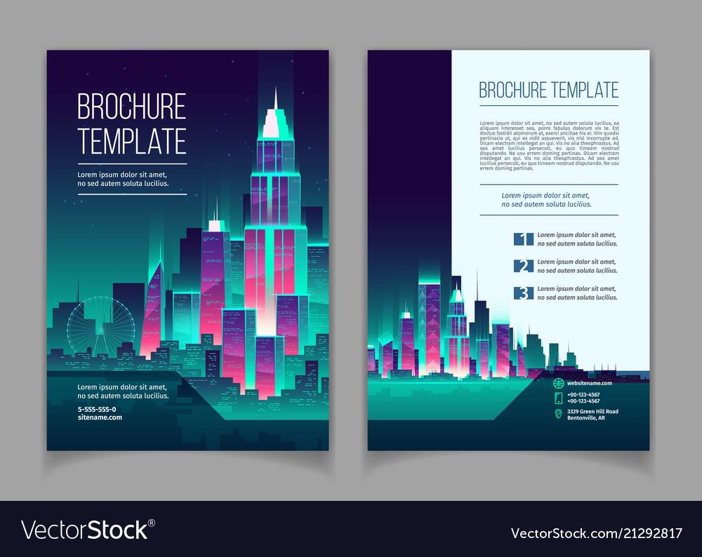 Brochure with neon megapolis buildings