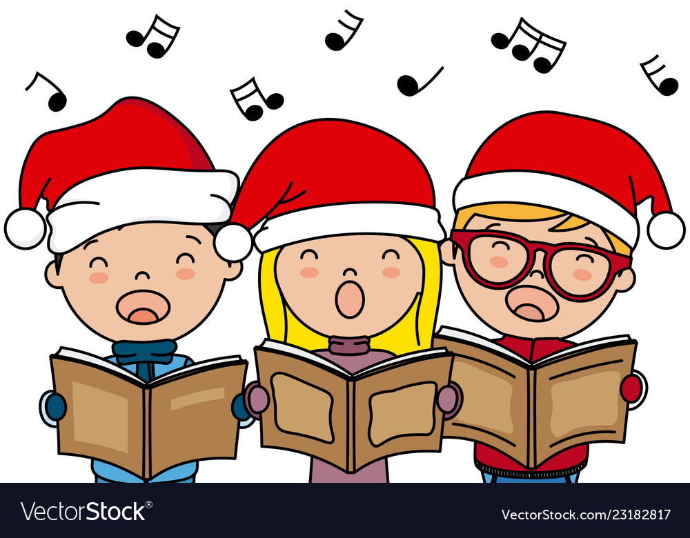 Christmas Singin.Children Singing Christmas Songs With Santa Hat