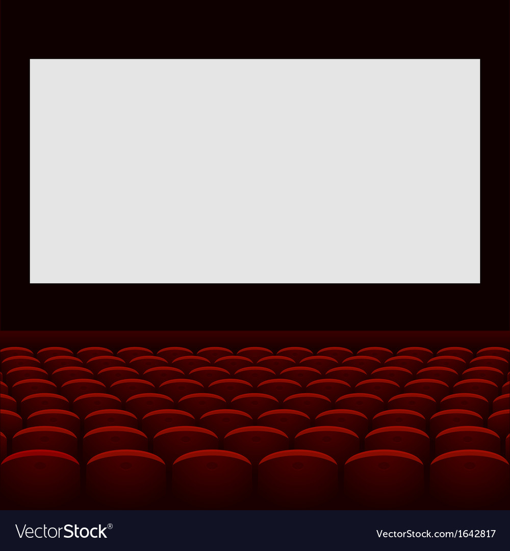 Cinema theatre with screen and seats Royalty Free Vector