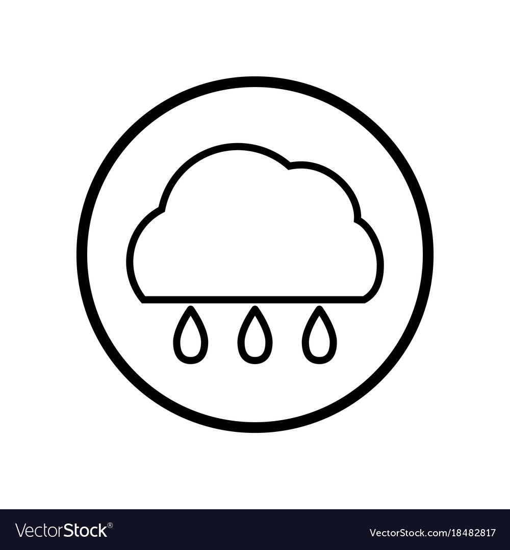 Cloud and rain icon in circle line
