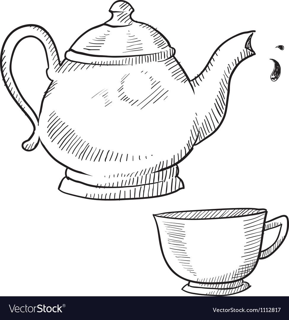 Doodle tea teapot cup drink