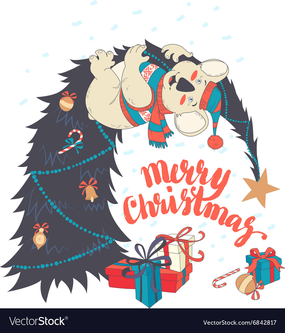 funny merry christmas card with koala wearing cute vector image - Funny Merry Christmas Greetings