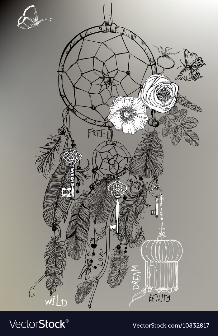 Indian Dream catcher in a sketch style