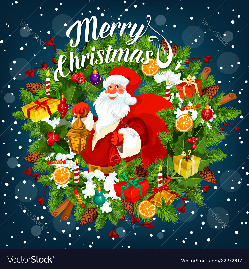 Merry christmas card with santa claus holding sack