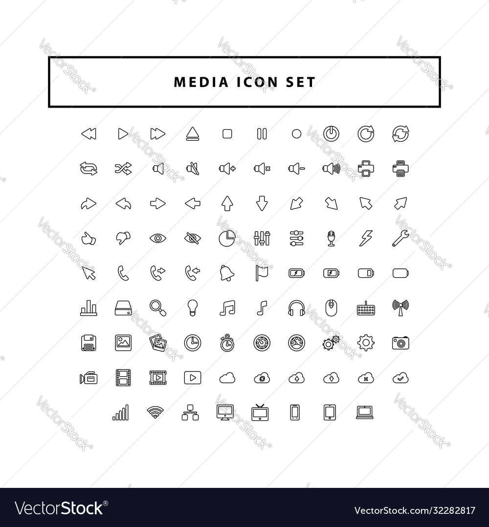 Modern media collection icon set with outline