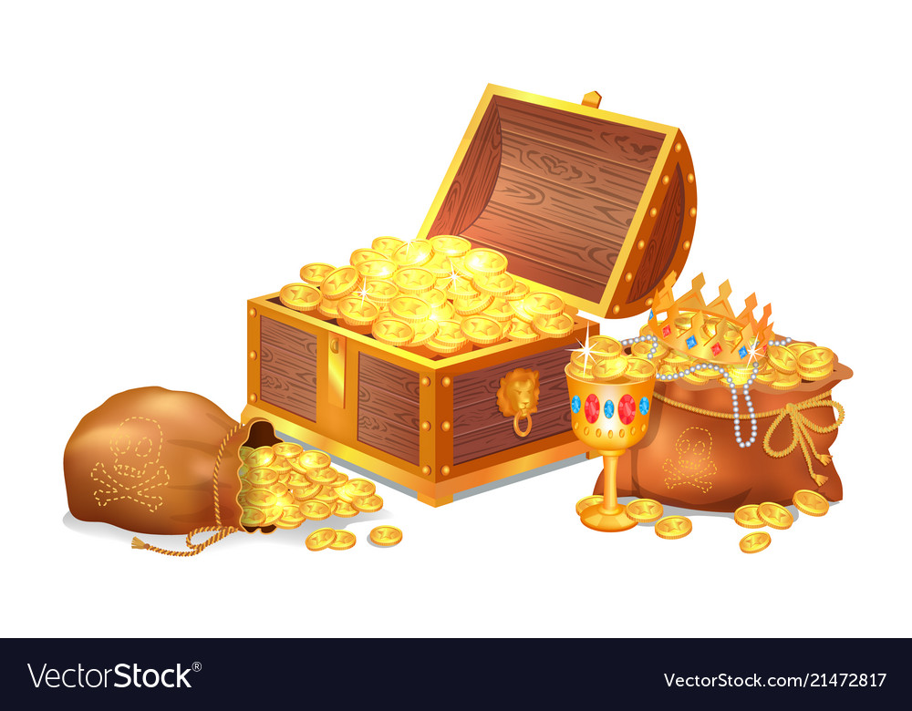 Old shiny treasures in wooden chest and silk sacks