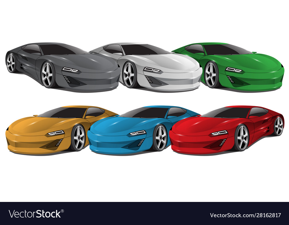 Realistic car sport collection 3d on white