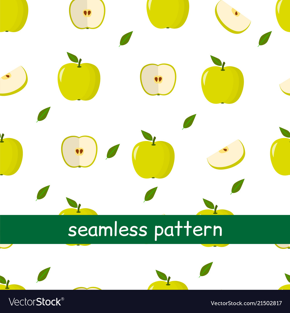 Seamless pattern of apple green and leaf on a
