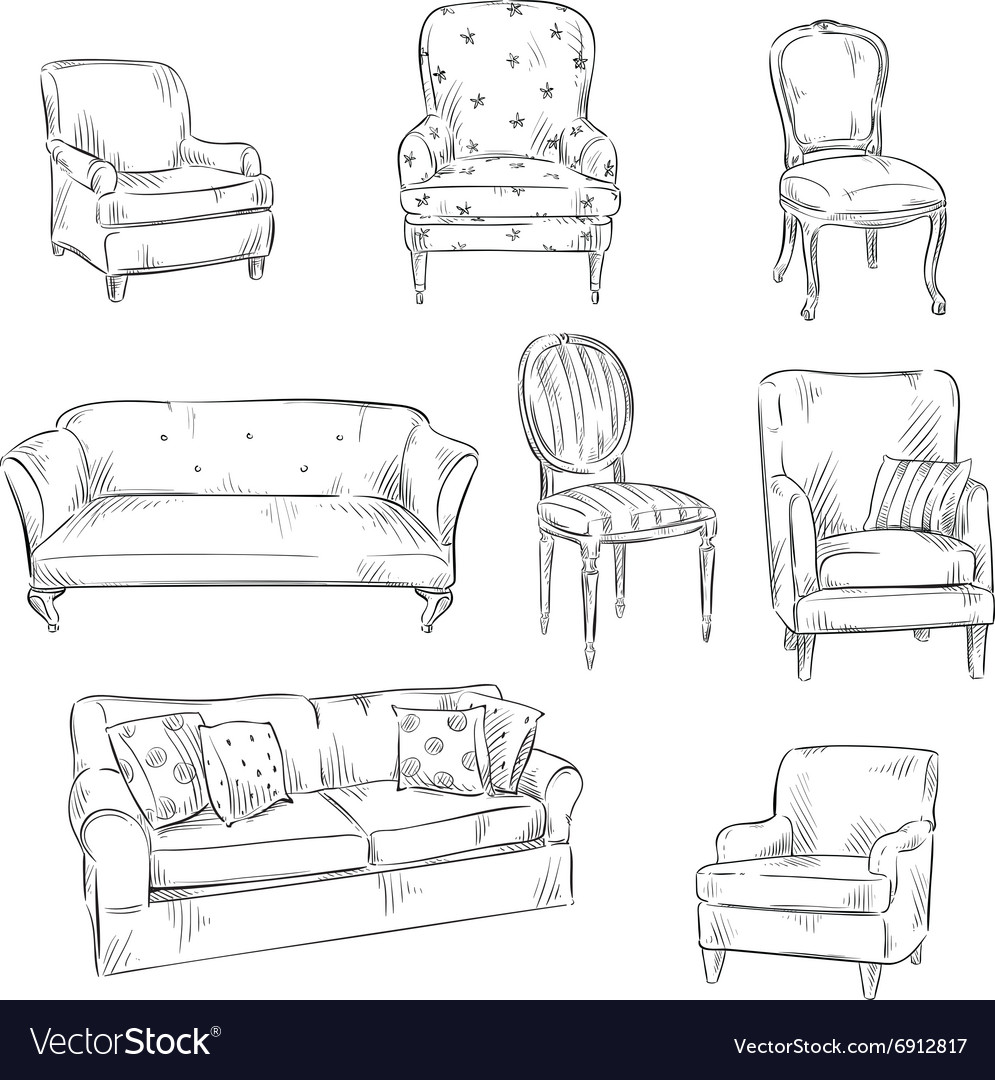 Set of hand drawn chairs and sofas