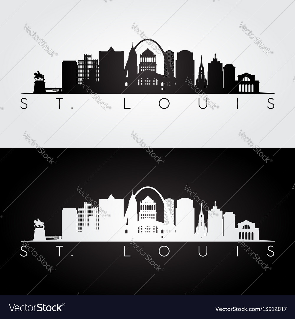 St louis usa skyline and landmarks silhouette