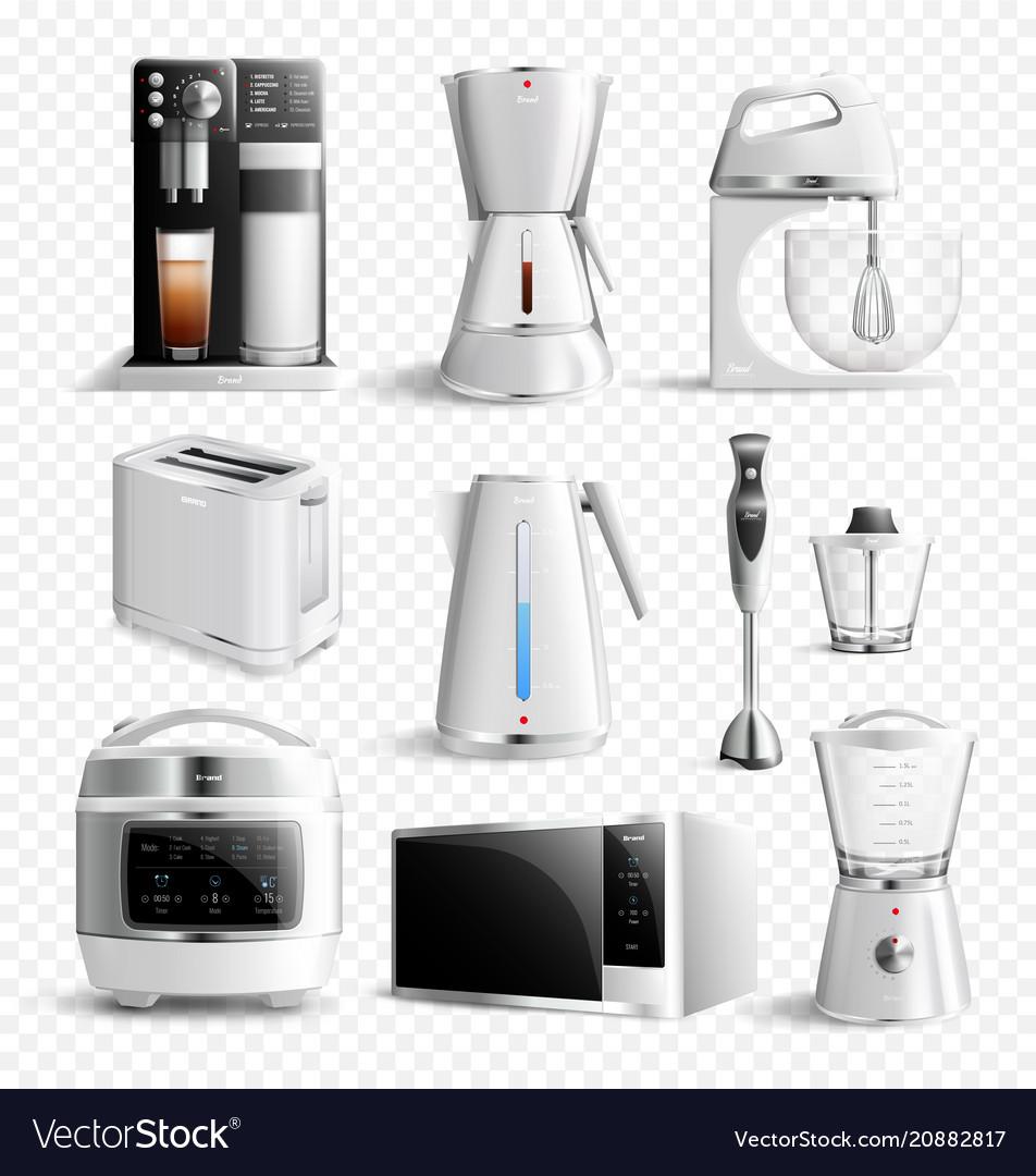 White Household Kitchen Appliances Transparent