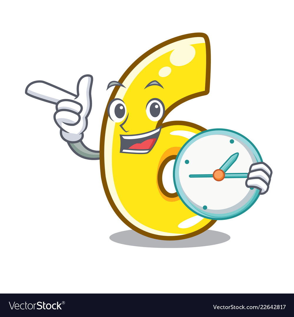 With Clock Cartoon Number Six On The Road Vector Image