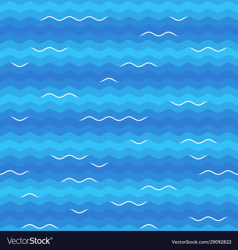 Blue sea waves with white foam tops seamless