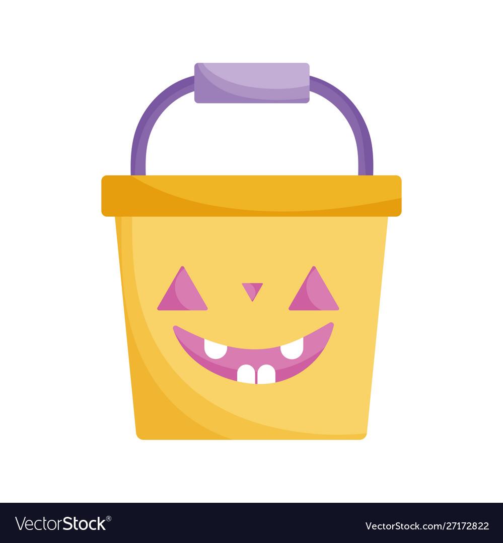 Bucket pumpkin icon trick or treat happy halloween