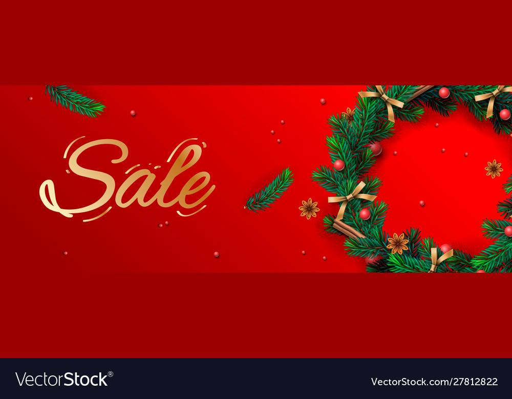 Christmas sale banner holiday horizontal