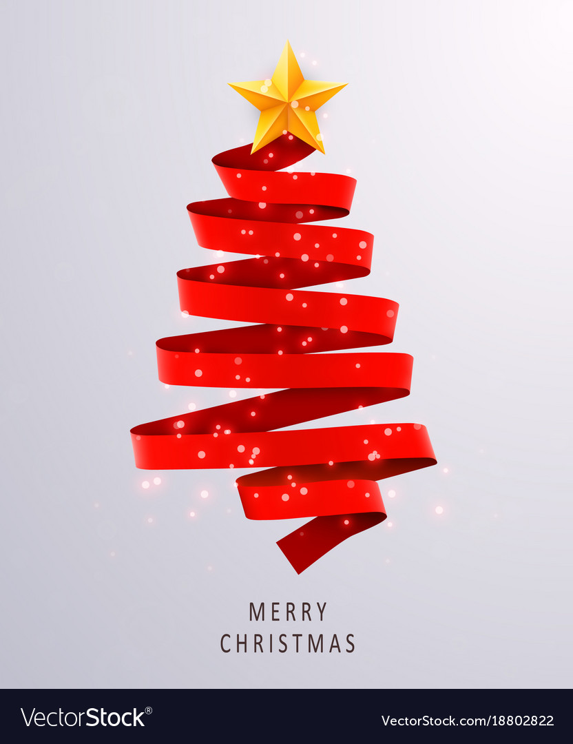 Christmas tree made of red ribbon on bright