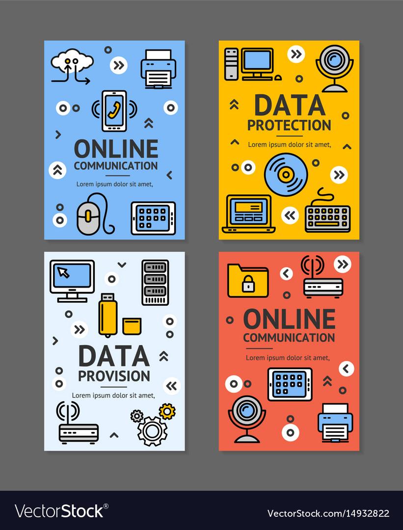 Computer online communication flyer banner posters