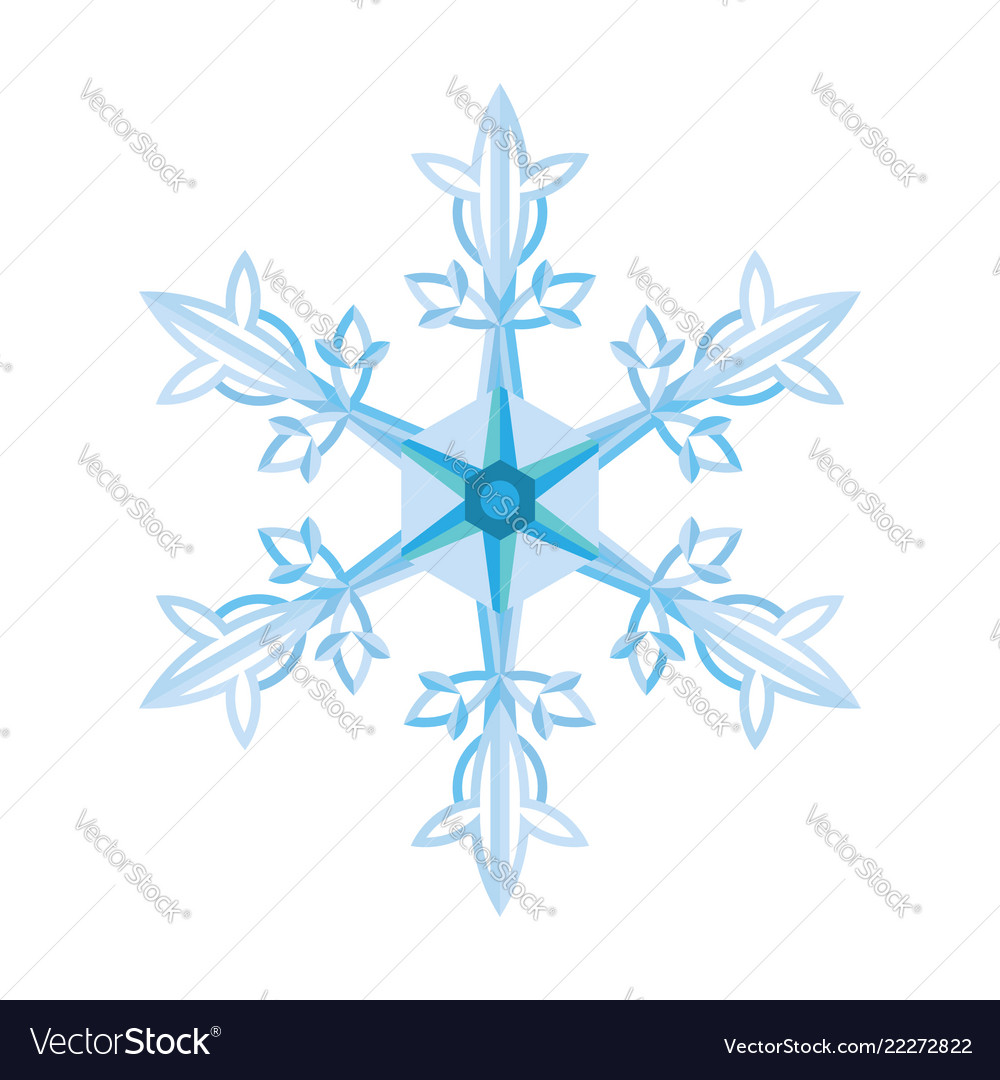 Flat blue snowflake on a white background